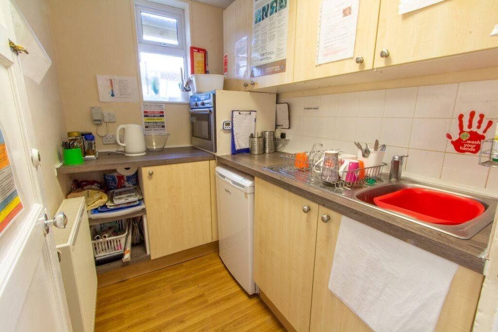 Nursery Kitchen – A place for a much-needed staff cup of tea! Our oven gives the children a chance to practice their baking skills and take home their creations to share with their families. (Children do not have free access to this area for health & safety reasons).