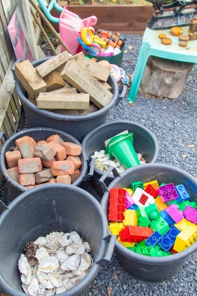 Loose parts play – we provide lots of loose part resources for children to play with and develop their creative and imaginative skills.